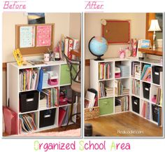 Homeschool organization ideas for organizing all the books and supplies in shelves in the living room from www.realcoake.com