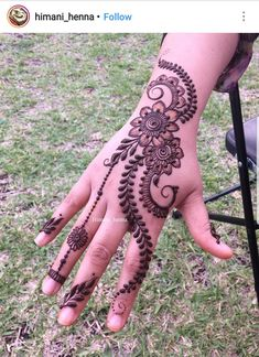 Henna Designs Easy, Beautiful Henna Designs, Mehandi Designs, Heena Design, Tattoo Designs, Hand Mehndi, Mehndi Art, Mehendi, Mehndi Design Pictures