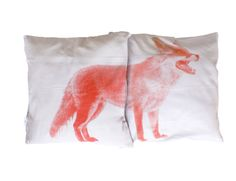 Handprinted cushions Fox by CakeMixstore on Etsy, Linen Bedroom, Linen Bedding, Fox Pillow, Bed Linen Design, Fabric Stamping, Luxury Bedding Collections, Textiles, Handmade Cushions, Forest Friends
