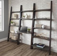 Newport Wall Desk & Bookshelf Save space and create a chic office with this clean lined beauty! Brown maple wood Amish made into an attractive home office.