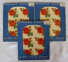 3-VINTAGE-PACKAGES-MEYERCORD-SHABBY-VALENTINE-RED-ROSES-18-DECALS-CARD-COTTAGE