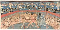Shimura Masazo Wrestling with Keyamura Rokusuke by Yoshitora /  彦山権現角刀之誉(志村政蔵・毛谷村六助)芳虎