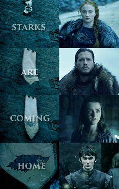 image subject to copyright. original edit. Starks homecoming, game of thrones ,house stark ,game of thrones edits , bran stark ,arya stark ,jon snow ,sansa stark, winter is coming ,stark banner, stark #GameOfThrones