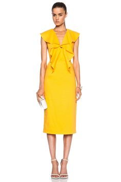 Cushnie et Ochs Stretch Linen Ruffle Dress in Marigold