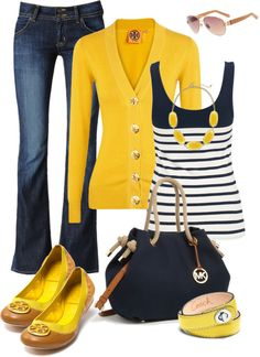 """navy/yellow"" by crylee on Polyvore"