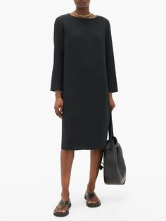 Larina crepe tunic dress | The Row | MATCHESFASHION UK Black Tunic, Black Midi Dress, New Dress, The Row, How To Look Better, Cold Shoulder Dress, Dresses For Work, Chinese Fans, Womens Fashion
