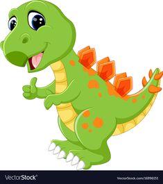Cartoon cute dinosaur vector image on VectorStock Dinosaur Images, Dinosaur Pictures, Dinosaur Funny, Dinosaur Crafts, King Picture, Moise, Free Cartoons, Cute Dragons, Cute Bee