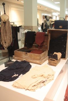 Unique clothing display - tops folded in trunk. Other cute ideas on this site as well.