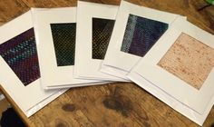 Off cuts from weaving made into greetings cards