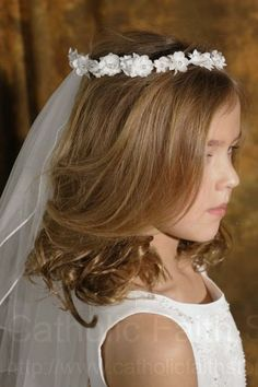 First Communion Flower and Pearl Wreath Veil - the PERFECT wreath veil