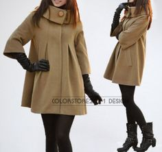 women's Princess style camel cape Fitted Wool by colorstore2011, $49.99