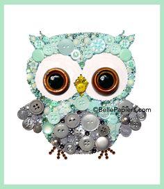Baby Boy Nursery Owl Button Art