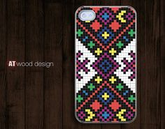 Iphone case iphone 4 case iphone 4s case iphone 4 transparent case cover classic colorized pattern square array design. $13.99, via Etsy.