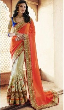 Ladies Party Wear Saris in Georgette and Orange with Stitched Blouse…