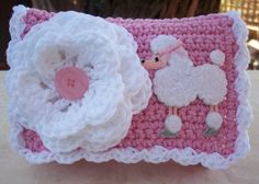 pink and white crochet purse - Google Search