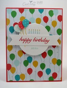 handmade birthday card ... PartyWishes Card-iology by Jari ... balloon theme ... patterned paper background carries the theme ... Stampin' Up!