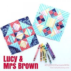 FW Lucy Mrs Brown-by Tonya Grant |This week there are two new blocks, Lucy and Mrs Brown. Lucy is number 53 in the book and Mrs Brown is number 67. I made both of my blocks using Marti Michell templates – Set B and Set D....There are lots of pieces this time and although I cut both blocks at the same time, I was super careful to keep the pieces in separate piles.