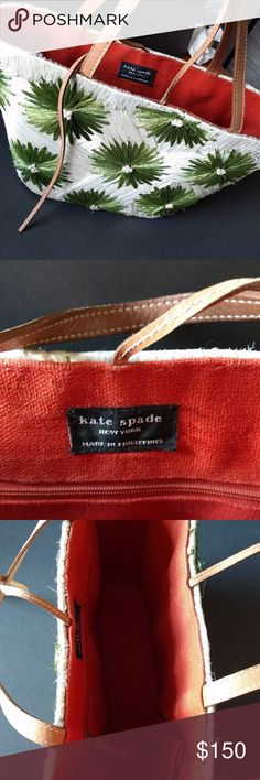 Kate Spade Cabo 2002 straw purse This is a bag from the 2002 Cabo Kate Spade collection. The handles and tie are leather with a cloth interior. The exterior of this bag is in used condition, see photos. kate spade Bags