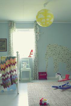 Ralfefarfars paradis kids room.  Try chevron style for curtains.