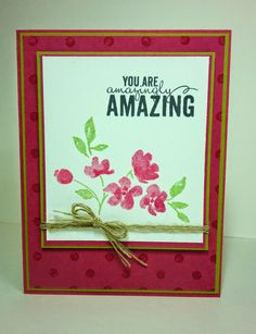 Stamper's Bliss Stampin'Up! Supplies: Stamps: Painted Petals, Distressed Dots Ink: Rose Red, Pear Pizzazz, Memento Tuxedo Black Paper: Rose Red, Pear Pizzazz, Whisper White Embellishments: Linen Thread