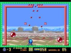 Buster Bros, also called Pang and Pomping World , is a cooperative two-player arcade video game released in 1989 by Capcom. The Buster brothers must finish a round-the-world quest to destroy bouncing balloons that are terrorizing several of Earth's landmarks and cities. The fight to save the Earth begins on Mt. Fuji, Japan where the brothers must pass all three stages before moving on to the next location.