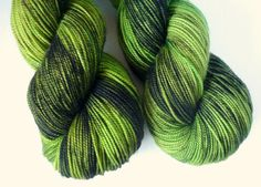 Hand Dyed Superwash Merino Fingering Weight Yarn in Green Lantern Colorway