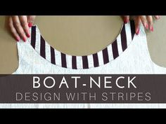 Boat neck design with stripes Chudidhar Neck Designs, Neck Designs For Suits, Neckline Designs, Blouse Neck Designs, Sleeve Designs, Techniques Couture, Sewing Techniques, Boat Neck Kurti, Kurta Neck Design
