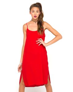Motel Petra Midi Slip Dress in Red Fashion Pants, 90s Fashion, Girl Fashion, Fashion Outfits, Delicate Lingerie, Hipster Hairstyles, Lingerie Dress, Fashion Updates, Buy Dress