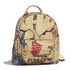 Calfskin, Cotton & Gold-Tone Metal Multicolor Backpack | CHANEL