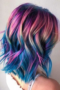 55 Fabulous Rainbow Hair Color Ideas - Rainbow Hair Ideas For Brunette Girls . 55 Fabulous Rainbow Hair Color Ideas - Rainbow Hair Ideas For Brunette Girls — No Bleach Required ★ - color girl Cute Hair Colors, Pretty Hair Color, Hair Dye Colors, Amazing Hair Color, Fun Hair Color, Unicorn Hair Color, Vivid Hair Color, Brown Hair Unicorn, Unique Hair Color