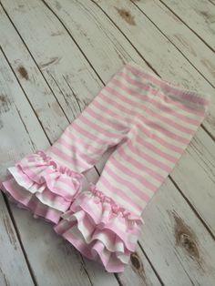 Striped Ruffle Leggings capris or pants 8 by ElleryJaneBoutique