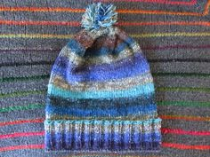 Knit Slouchy Noro Hat  Chocolate Blueberry by SpacerobotStudio