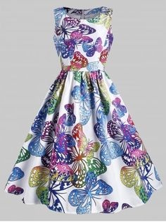 f664196e3c1 Butterfly Print Sleeveless A Line Dress Cheap Vintage Clothing
