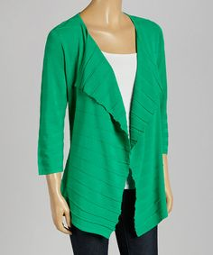 Another great find on #zulily! Jade Ribbed Cascade Open Cardigan #zulilyfinds