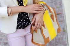 Lilac jeans, a white blazer and polka dots with a pop of yellow.