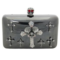 SKULLS - Swarovski Crystal Multi Cross and Skull Clutch Bag Pewter http://www.butlerandwilson.co.uk/index.php