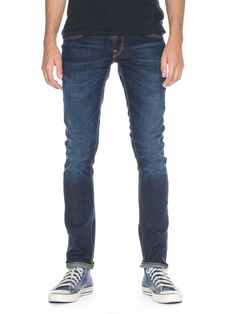 A classic first step worn Nudie Jeans pre-wash. Stretch denim with a clear, ink blue tone. Even though its been pre-washed you will add some character as you wear them, turning them into a second skin.