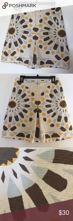"Anthropologie cotton skirt This is a cute little cotton skirt from Anthropologie. Size 8. There are a few small snags in the fabric which I noted in a photo. Approximate length is a little over 19"" and the waist measurement is 15.5"" across when laid flat. Anthropologie Skirts"