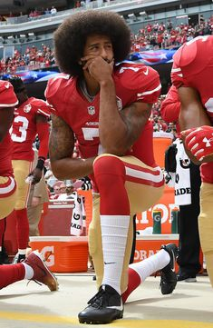 Colin Kaepernick Photos Photos - Colin Kaepernick of the San Francisco kneels on the sideline during the anthem prior to the game against the Dallas Cowboys at Levi's Stadium on October 2016 in Santa Clara, California. - Dallas Cowboys v San Francisco Donald Trump, Tom Brady, Black National Anthem, Chapo Guzman, Taking A Knee, By Any Means Necessary, Black History Facts, Before Us, Awesome