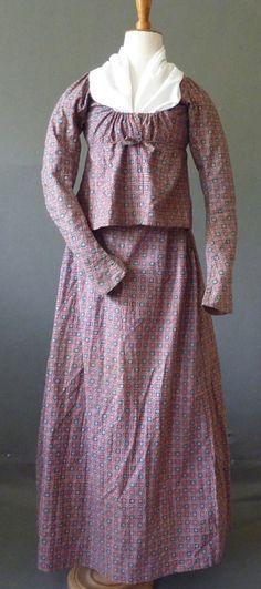 Dutch Printed cotton c1820s shortgown & petticoat
