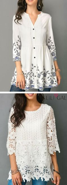 59 Ideas Crochet Lace Shirt Pattern Summer Tops For 2019 Lace Top Outfits, Cool Outfits, Cute Blouses, Blouses For Women, Shirt Blouses, Tunic Pattern, Mode Hijab, Blouse Designs, Beautiful Outfits
