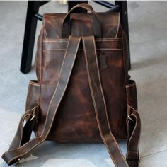 Vintage Leather Backpack for School, Handmade Leather Backpack ES001 Features: Design: Genuine Leather BackpackIn Stock:  4-5 days For MakingAdd Custom Monogram