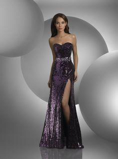 Gown by Shimmer - Strapless, baillette bodice and skirt, high front side slit, beaded waist