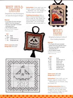 Fall Cross Stitch, Cross Stitch Charts, Cross Stitch Designs, Cross Stitch Patterns, Halloween Embroidery, Halloween Cross Stitches, Cross Stitching, Cross Stitch Embroidery, Fall Sewing