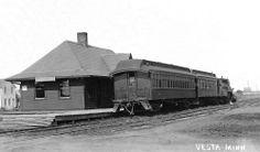 Former Chicago & NorthWestern depot in Vesta, Minnesota built in 1900.