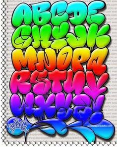 *colored graffiti letters. click thru for more styles too.