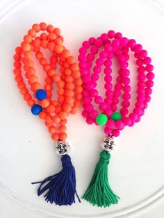Neon mala laughing buddha necklace by Katiaicrafts on Etsy