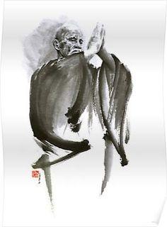 Japan Painting - Morihei Ueshiba Sensei Aikido Martial Arts Art Japan Japanese Master Sum-e Portrait Founder by Mariusz Szmerdt Japan Painting, Ink Painting, Pintura Zen, Aikido Martial Arts, Tatoo Art, Samurai Artwork, Buddha Art, Zen Art, Art Graphique