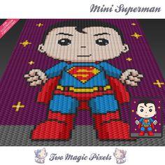 Mini Superman inspired crochet blanket pattern; knitting, cross stitch graph…