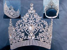 Adjustable Fairy Tale Beauty Queen Rhinestone Silver Crown Old world elegance… Royal Crowns, Royal Jewels, Tiaras And Crowns, Crown Jewels, Royal Tiaras, Bridal Crown, Bridal Tiara, Pageant Crowns, Princess Bridal